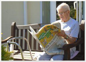 Man enjoying reading the Daily Telegraph