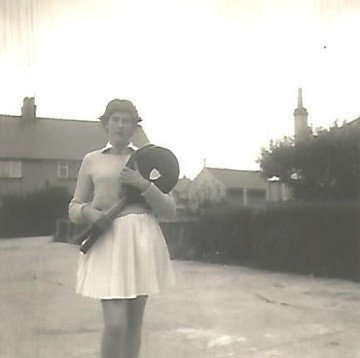 Rosemary Jewell in 1954 competing at Wimbledon.
